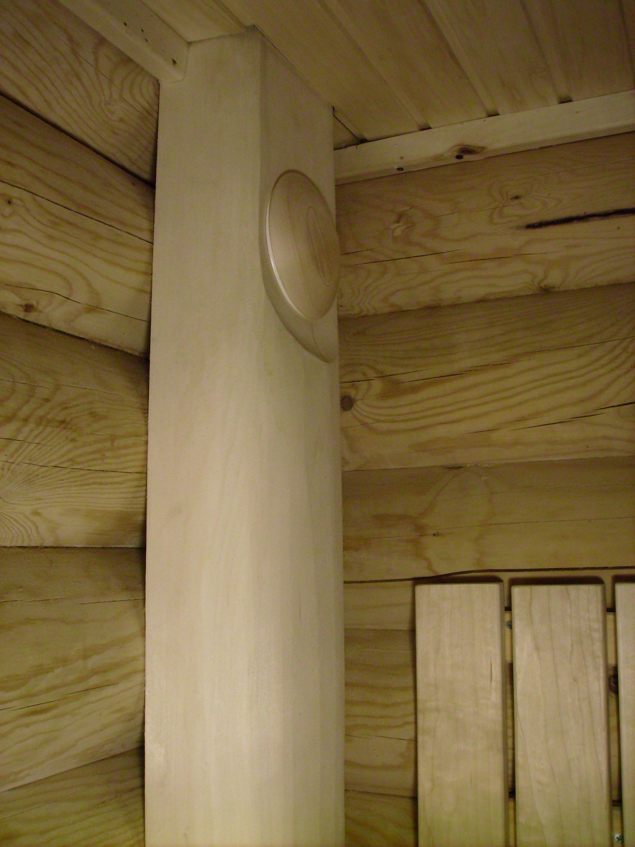 ventilation in the steam room from the aspen trunk