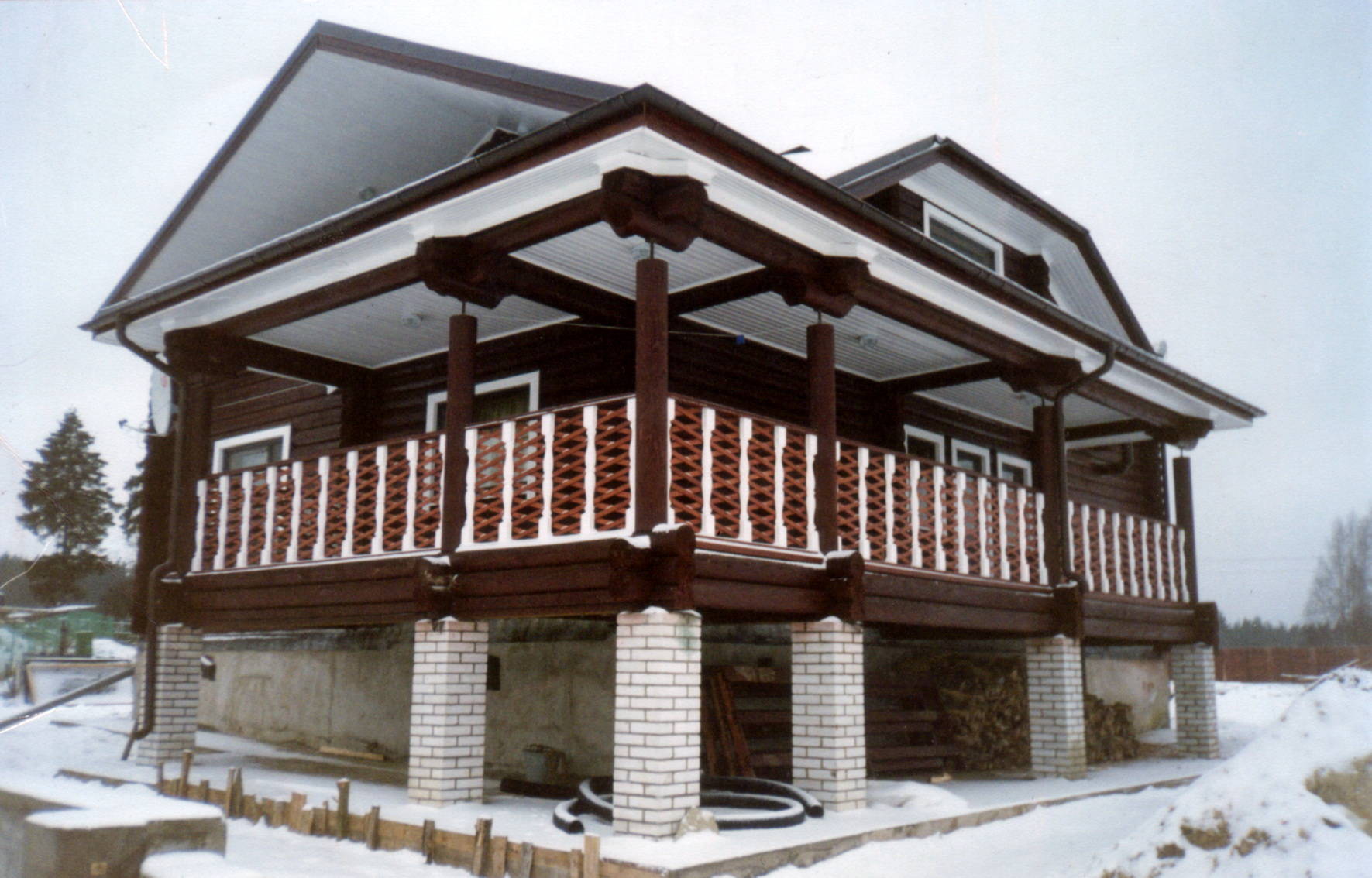 wooden house with terrace