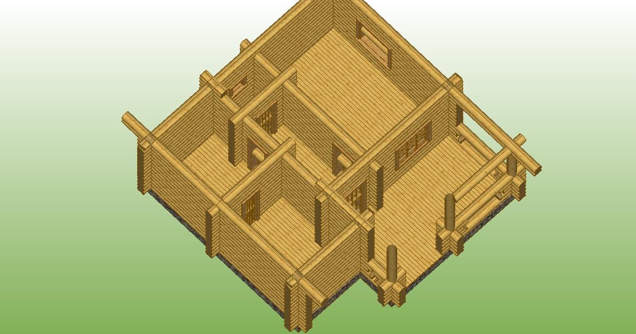 проект №13 баня из оцилиндрованного бревна разрез