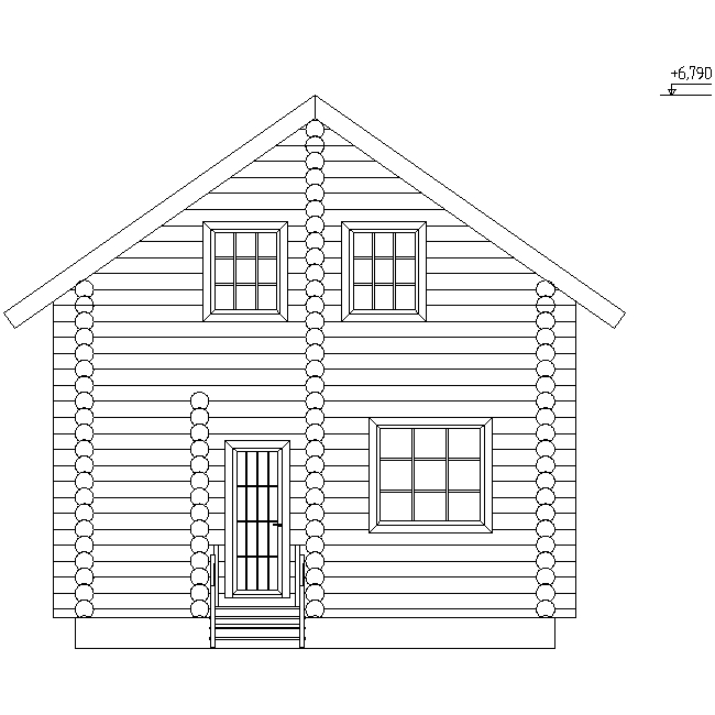 facade of a wooden house made of logs with a diameter of 240 mm according to project No. 10