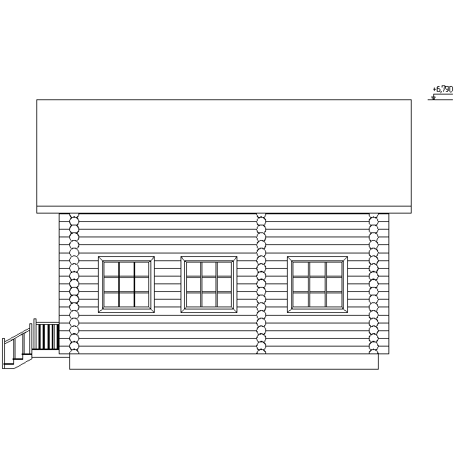 facade of a log house according to project No. 10