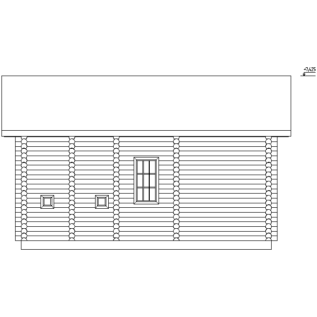 facade of a wooden house made of logs with a diameter of 260 mm according to project No. 6