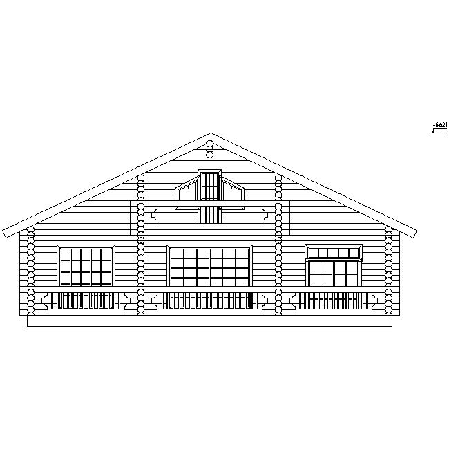 facade of a log house according to project No. 8