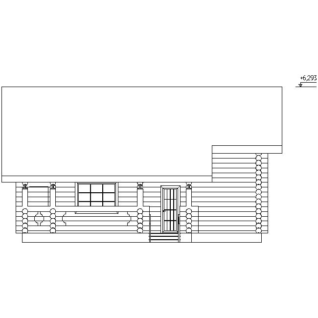 фасад деревянного дома из бревна диаметром 240 мм по проекту №11