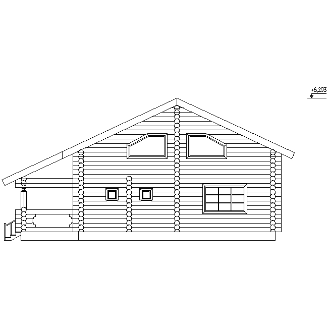 facade of a log house according to project No. 11