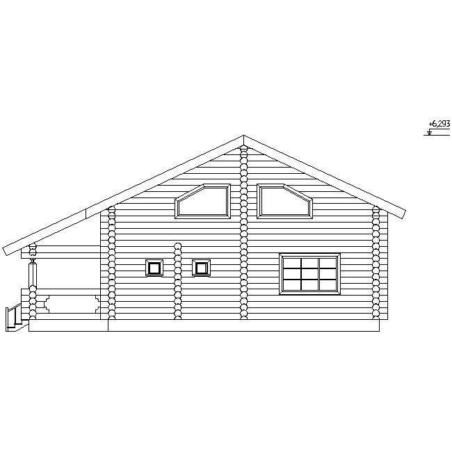 фасад бревенчатого дома по проекту №11