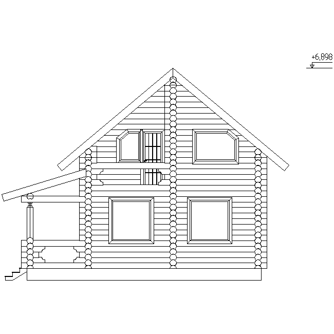 facade of a log house according to project No. 12