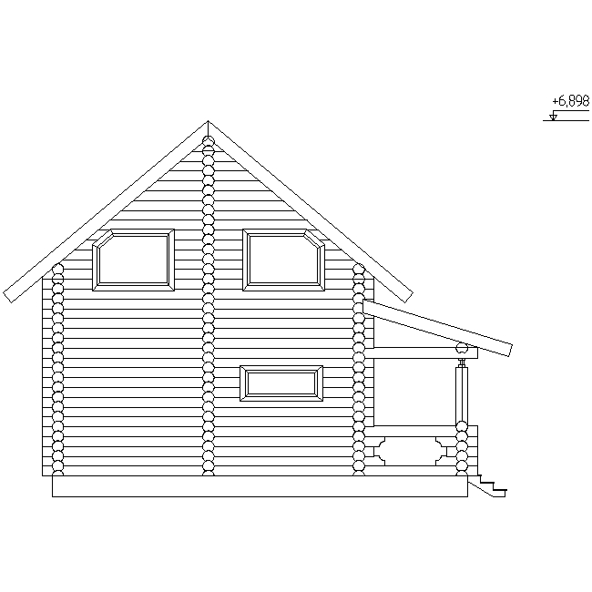 facade of a wooden house made of logs with a diameter of 220 mm according to project No. 12