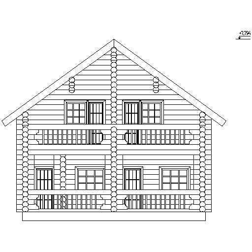 фасад деревянного дома из бревна диаметром 260 мм по проекту №7
