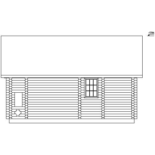 фасад бревенчатого дома по проекту №7