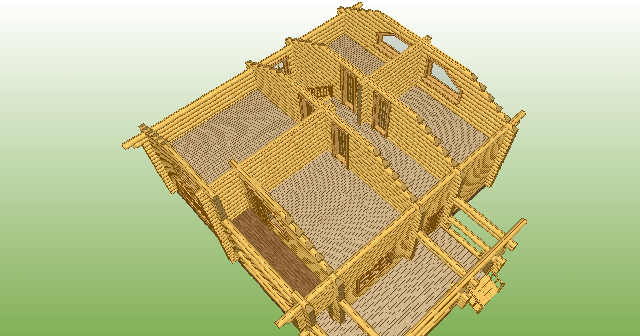 image of the second floor of the log house according to project No. 11