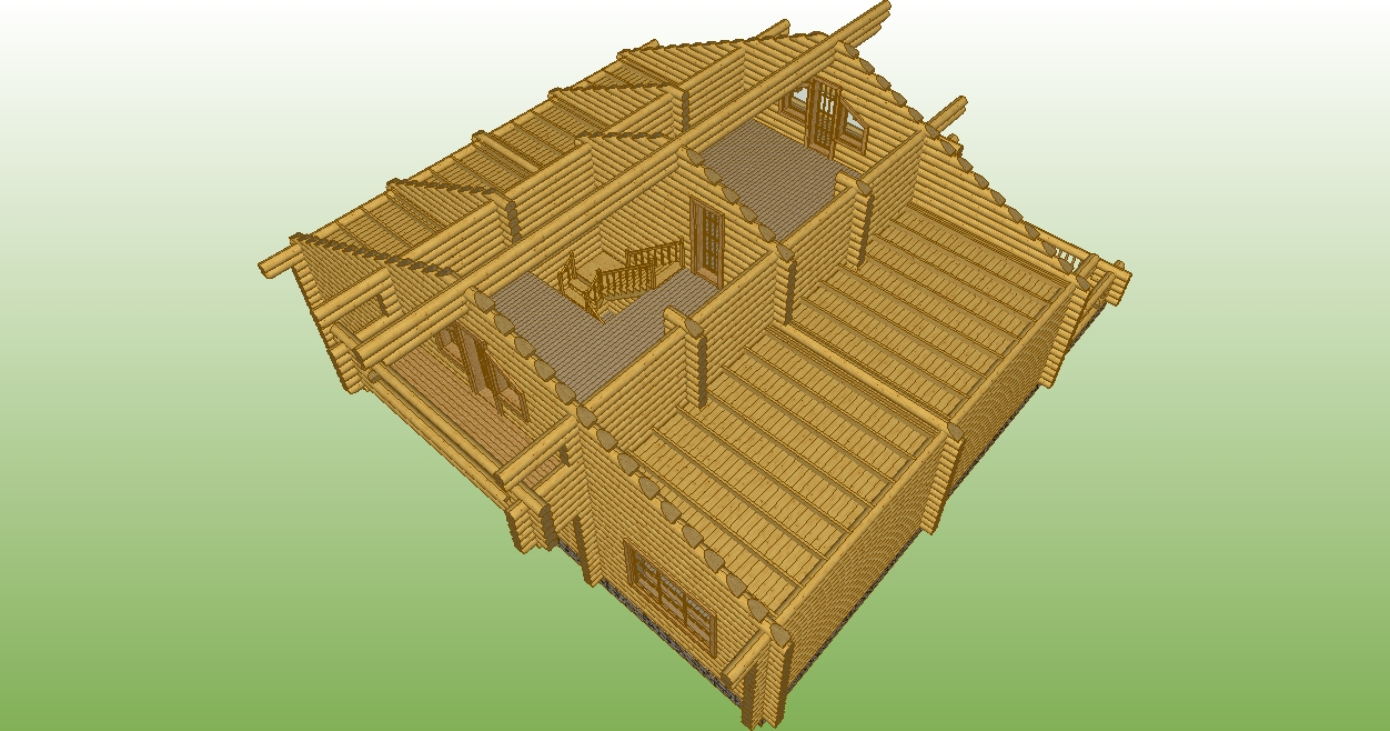 image of the second floor of the log house according to project No. 8