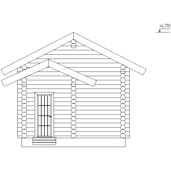 facade of a log bath according to project No. 1