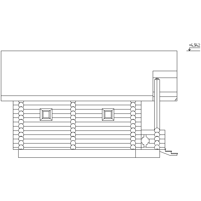 facade of a wooden bathhouse according to project No. 13