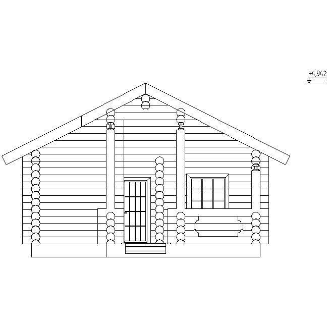 facade of a log bath according to project No. 13
