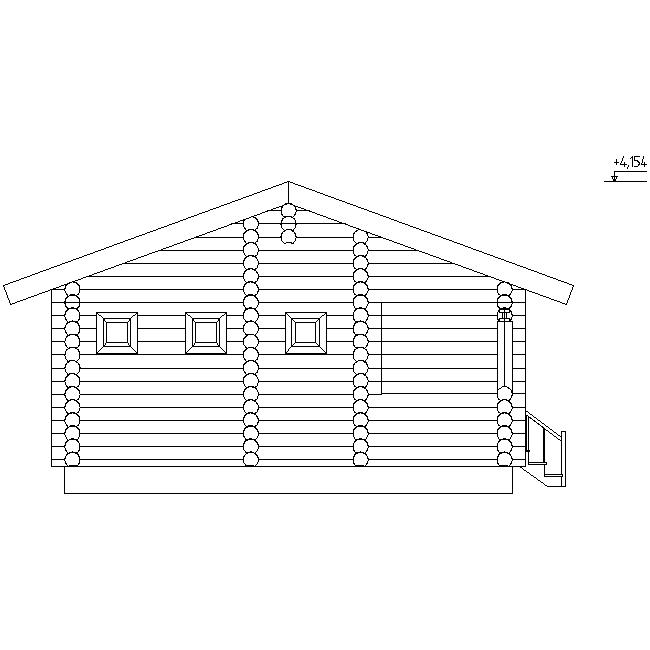 фасад бани из бревен по проекту №16