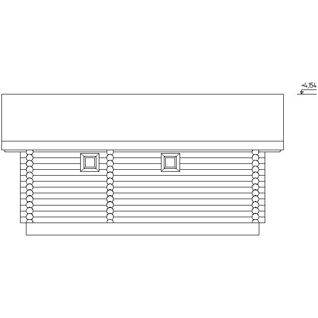 фасад бани из оцилиндрованного бревна по проекту №16