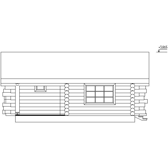 фасад бревенчатой бани по проекту №17