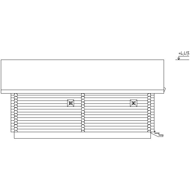 фасад бани из оцилиндрованного бревна по проекту №18