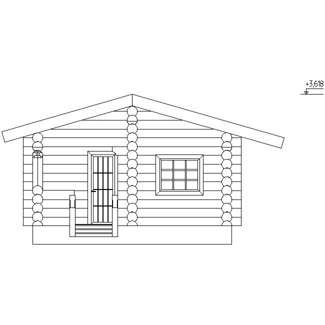 facade of a log bath according to project No. 3