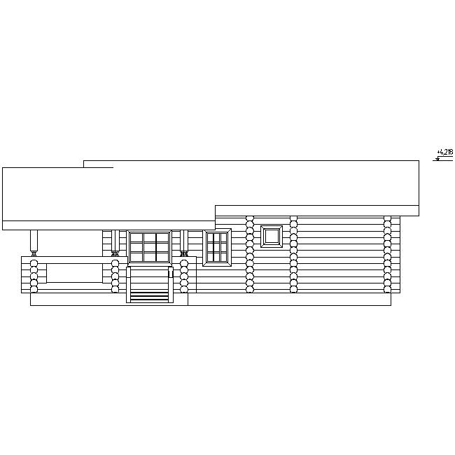 фасад бревенчатой бани по проекту №6