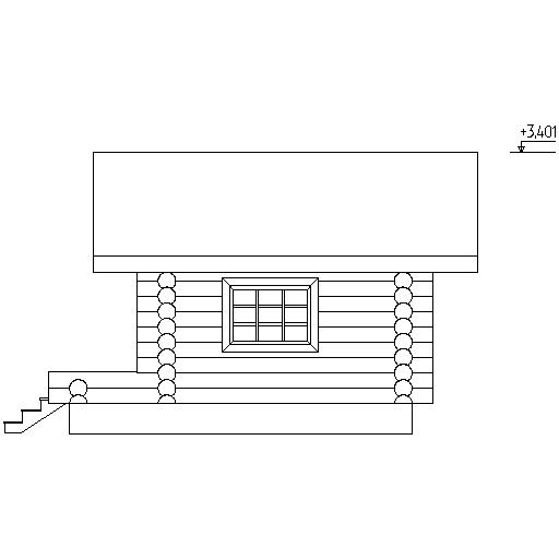 facade of a log bath according to project No. 7