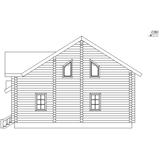фасад деревянного дома из бревна диаметром 260 мм по проекту №15