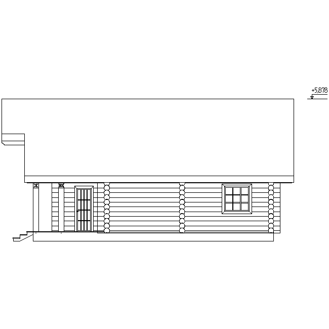 facade of a wooden house according to project No. 2