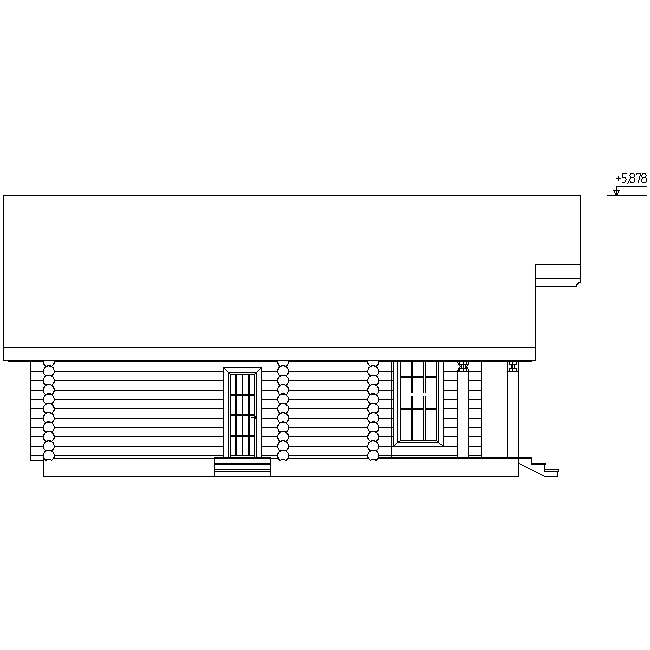 facade of a log house according to project No. 2