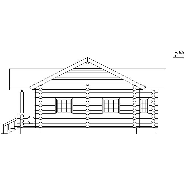 фасад деревянного дома из бревна диаметром 220 мм по проекту №5