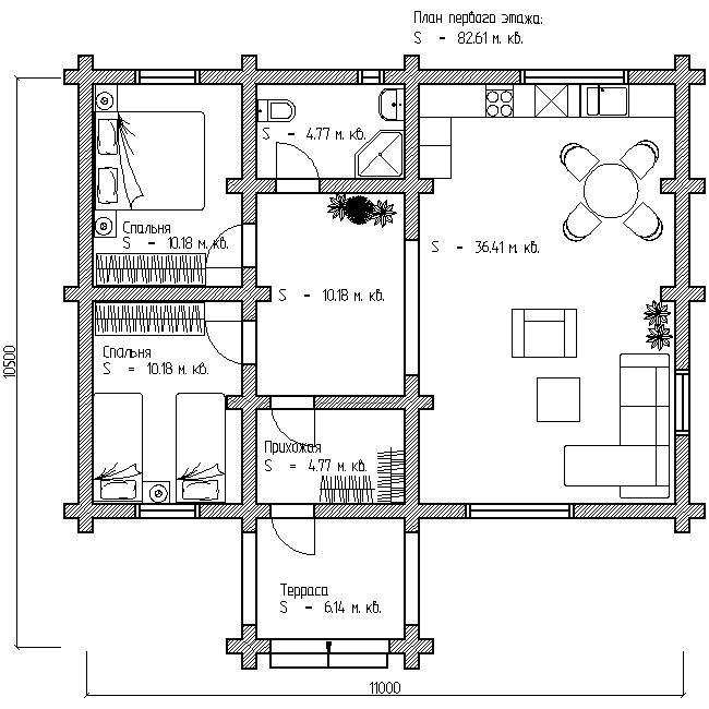 план деревянного дома по проекту №1