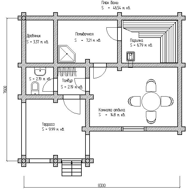 план угловой бани по проекту №10