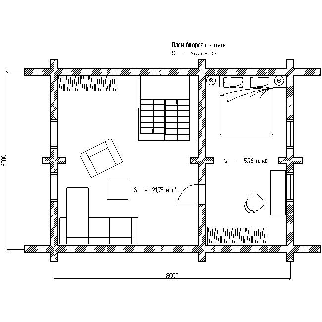 план второго этажа деревянного дома по проекту №10