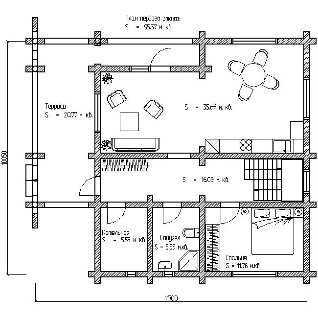 проект №11 дома с террасой план первого этажа
