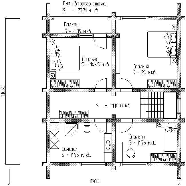 проект №11 дома с террасой план второго этажа