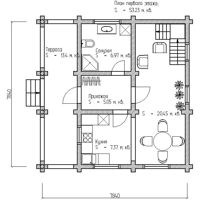 план первого этажа деревянного дома по проекту №12