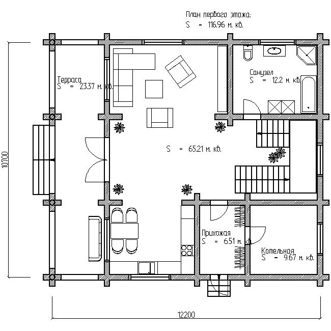 проект загородного дома №13 план первого этажа