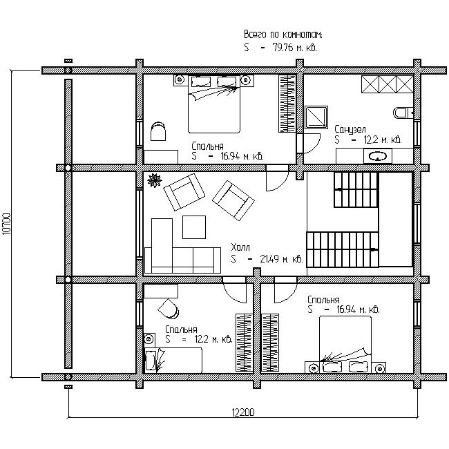 проект загородного дома №13 план второго этажа