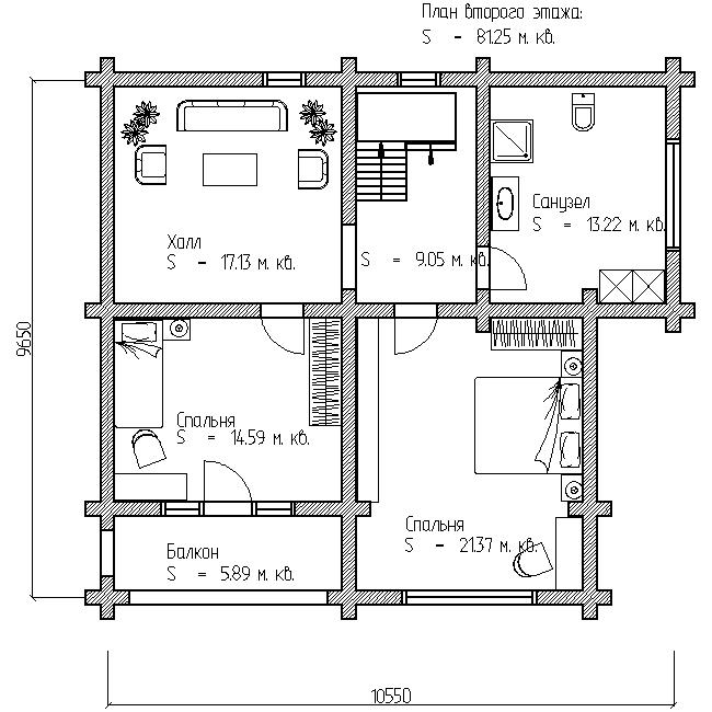 проект коттеджа №15 план второго этажа