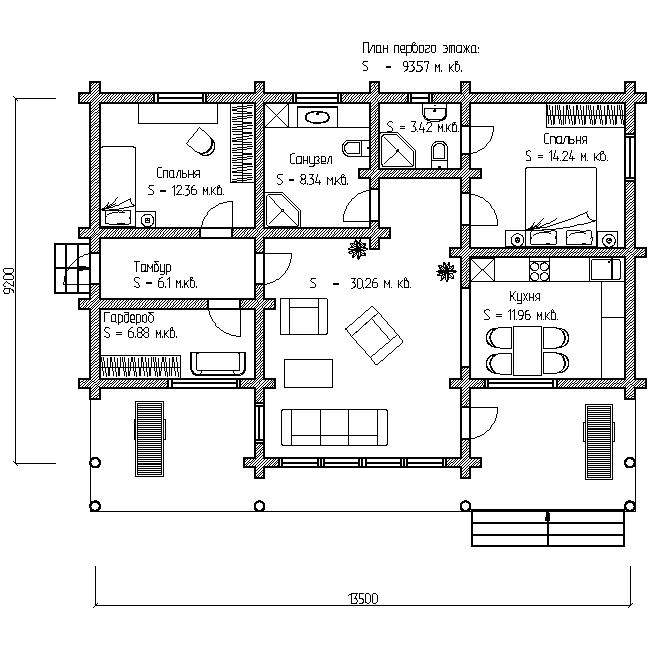 проект одноэтажного дома 100 м план первого этажа