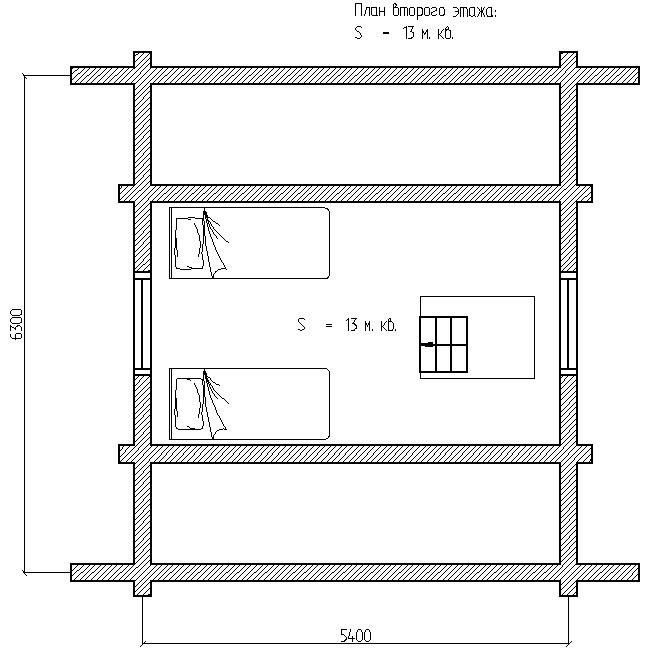 план второго этажа деревянного дома по проекту №3, 6 на 6