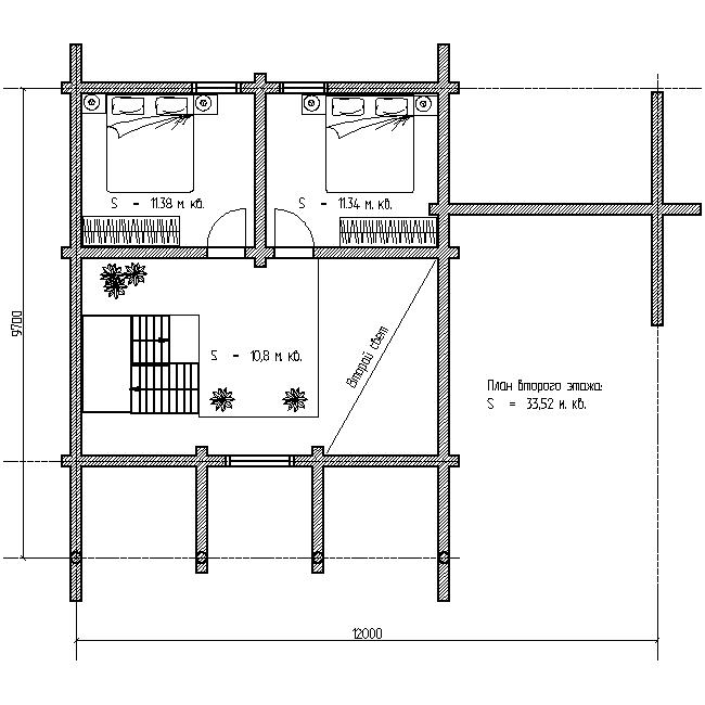 план второго этажа проекта дома с баней