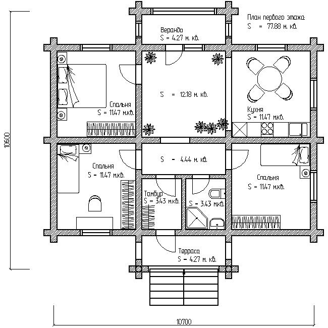 план первого этажа деревянного дома по проекту №5