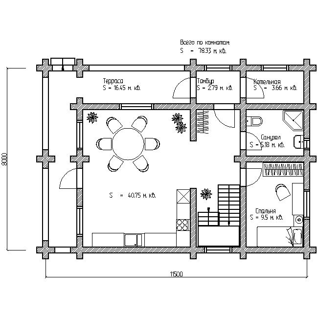 проект №7 дома 150 м план первого