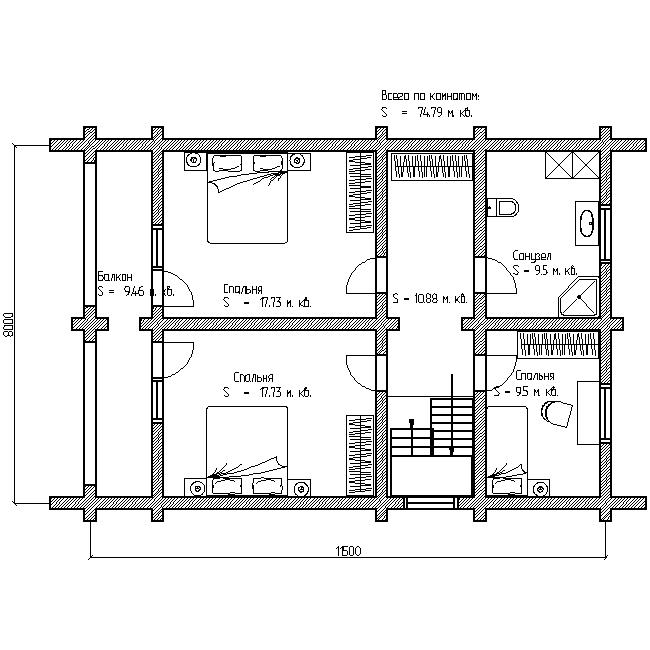 проект №7 дома 150 м план второго