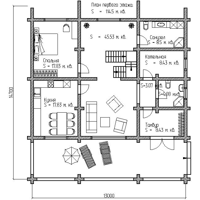 дом с большой террасой проект №8 план первого этажа