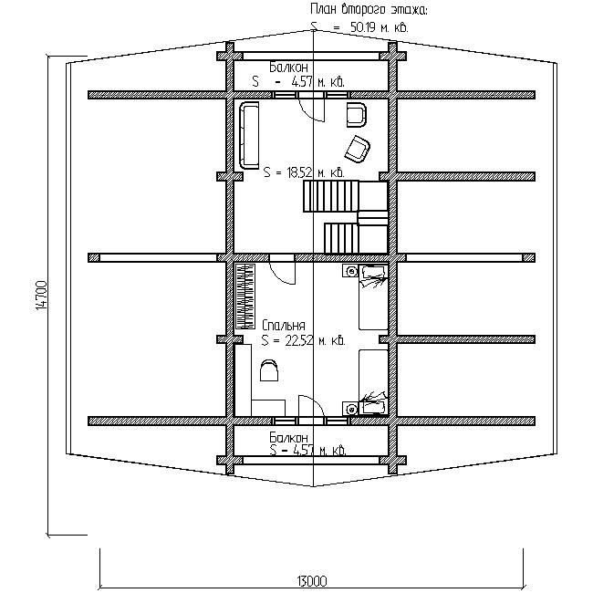 дом с большой террасой проект №8 план второго этажа