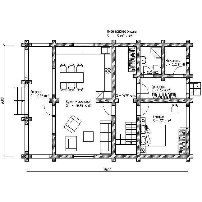 проект №9 дом с террасой и балконом план первого этажа