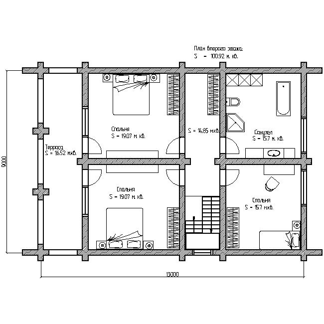 проект №9 дом с террасой и балконом план второго этажа