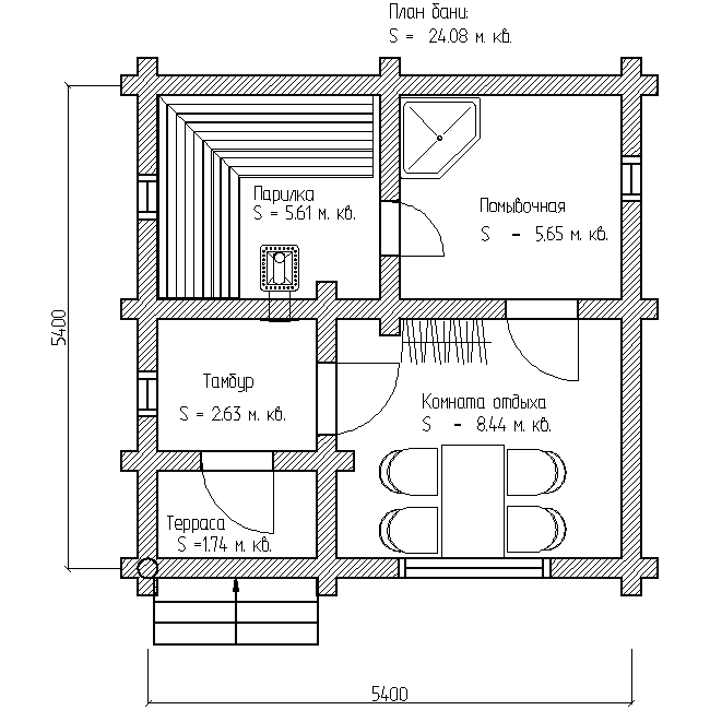 баня 6х6 план